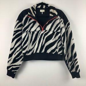 Rag & Bone Fuzzy Zebra Print Crop 1/4 Zip Sweater